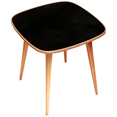 Ash Coffee Table with black glass top by H. Lachert for ŁAD, Poland, 1956