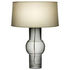 Boa Gray Handblown Modern Glass Table Light, Made in the USA