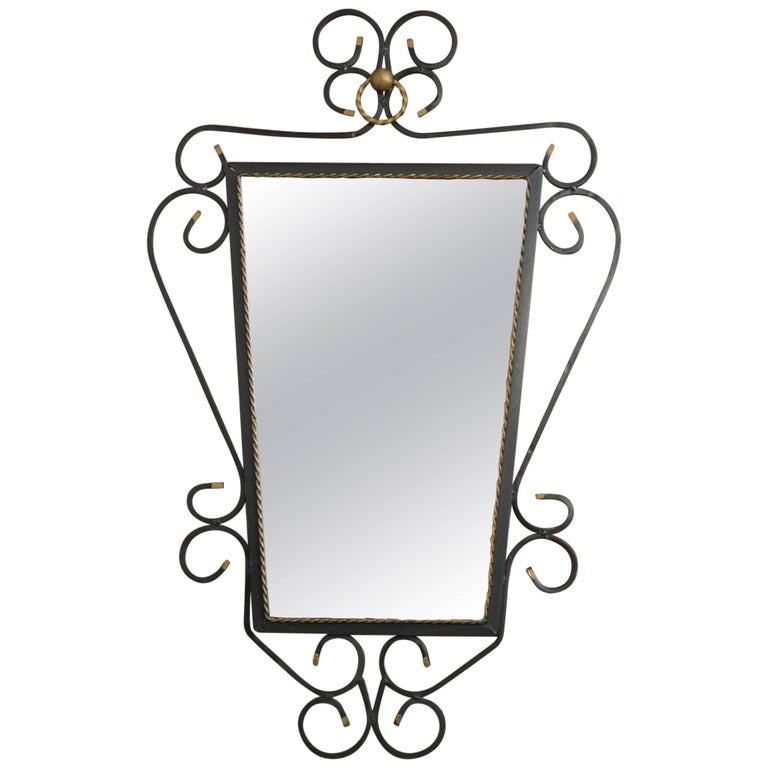 Black Wrought Iron and Gold Mirror from the 1950