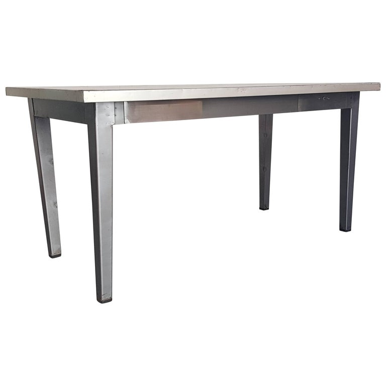 Vintage Industrial Stripped and Polished Steel Table