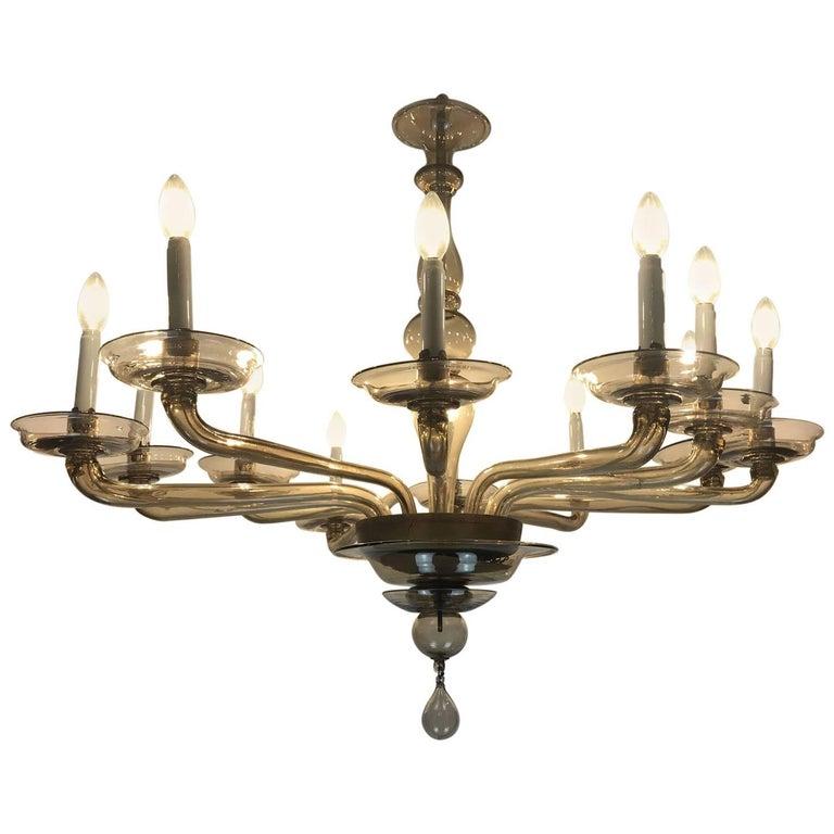 Italian Venetian Gl Chandelier 1940 Circa Twelve Light By Cristalleria Murano For