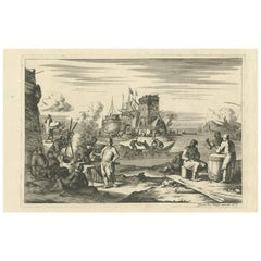 Antique Untitled Harbour View 'IV' by J. Wolff, circa 1730