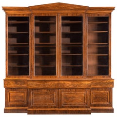 Regency Period Mahogany Breakfront Secretaire Bookcase by Gillows
