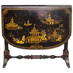 Black Lacquered Leaf Table, England, Late 19th Century