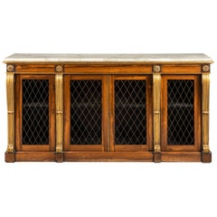 Regency Period Rosewood and Parcel-Gilt Side Cabinet