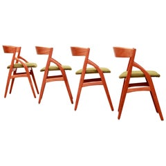 Set of Four Danish Designer Dining Chairs by Kai Kristiansen in Teak