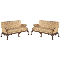 Pair of George III Style Mahogany Framed Sofas