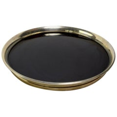 Gorham Sterling and Black Laminate Serving Tray