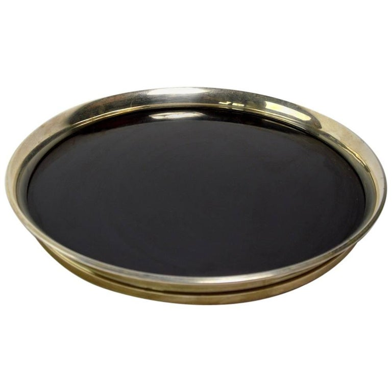 Gorham Sterling and Black Laminate Serving Tray For Sale
