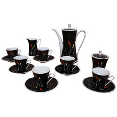 Porcelain Coffee Set from Kahla in Black and White, 1960s, Hand-painted Pattern