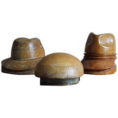 Vintage Wooden Hat Forms, Set of 3