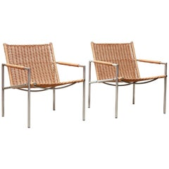 Set of Two Rattan SZ01 Dutch Designer Armchairs by Martin Visser for Spectrum