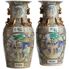 Massive Pair of Porcelain Cantonese Vases