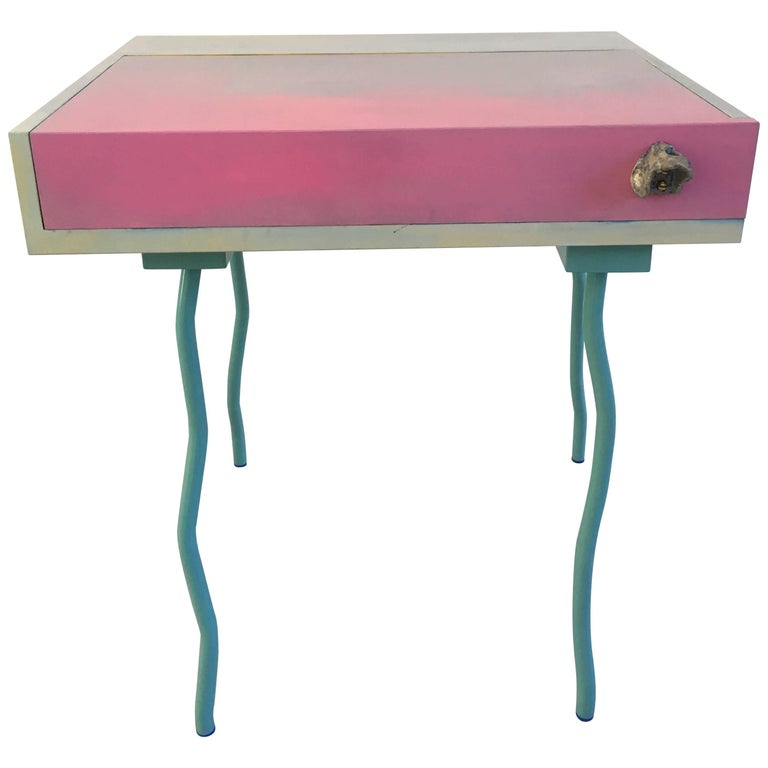 Contemporary Handmade Blue And Pink Bureau Desk By Superpoly For