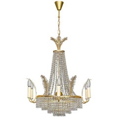 Large Classical Palwa Chandelier Gilt Brass Faceted Crystal Glass Palm Crown Top