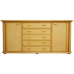 Wooden and Woven Rattan Sideboard