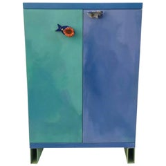 Contemporary Handmade Bar Cabinet with Ceramic Handles
