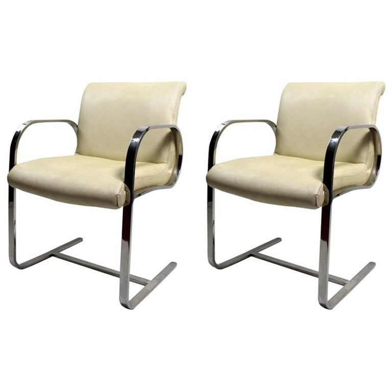 Pair of Brno Style Chairs Attributed to Brueton For Sale