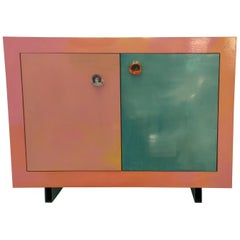 Contemporary Hand-Painted Buffet or Sideboard with Ceramic Handles