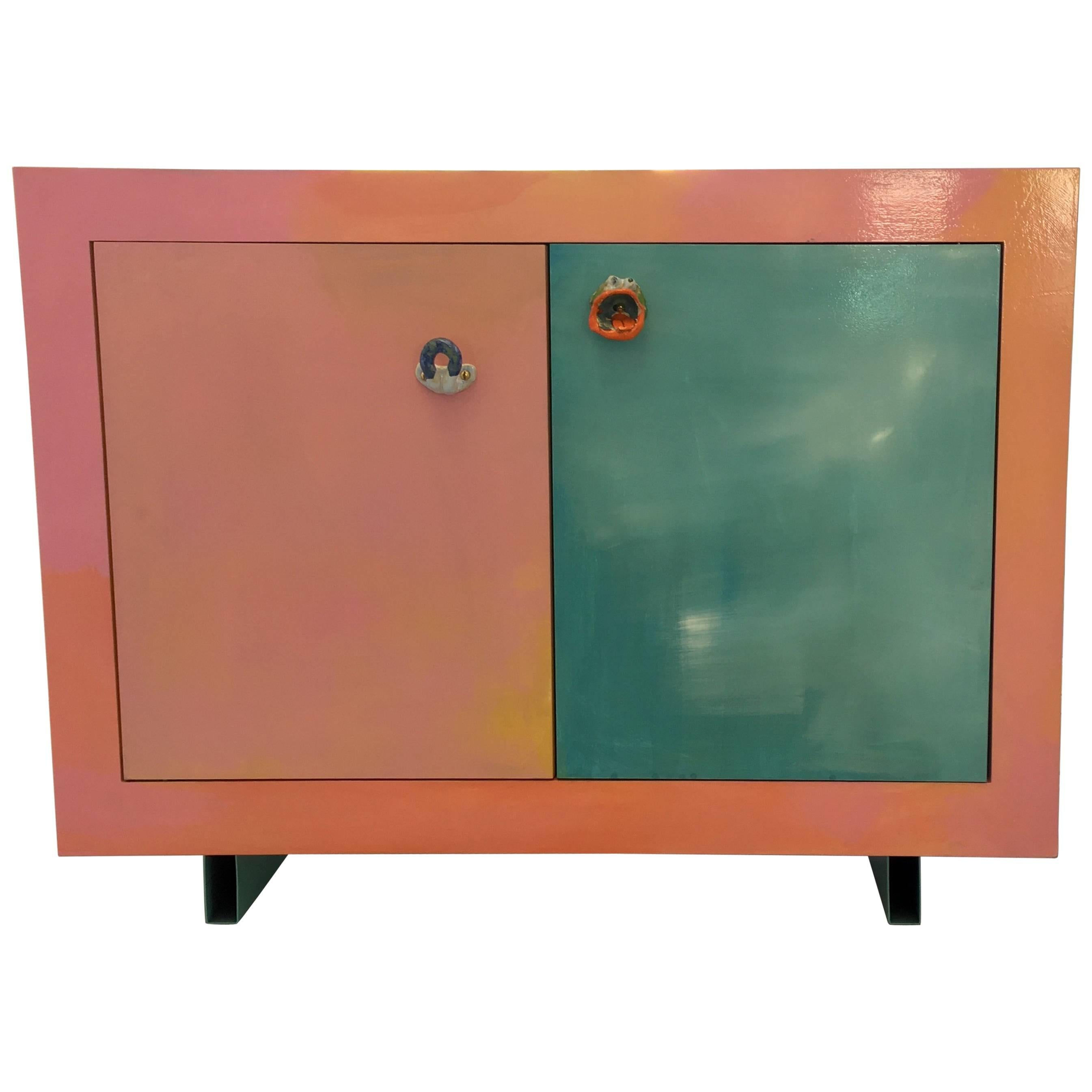 Contemporary Hand Painted Buffet Or Sideboard With Ceramic Handles For Sale