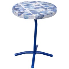 Contemporary Handmade Blue White Orange Ceramic Side Table