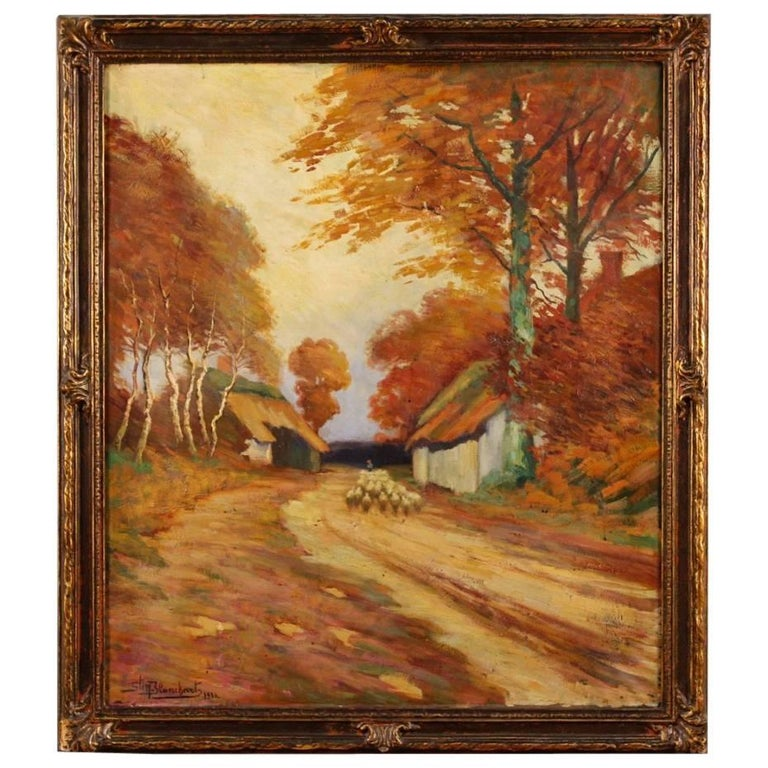 French Bucolic Landscape Painting Oil on Canvas Signed and Dated, 20th Century