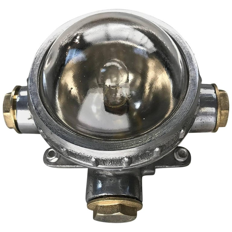 1970s Russian Cast Aluminium, Brass and Glass Industrial Micro Spot / Down Light For Sale