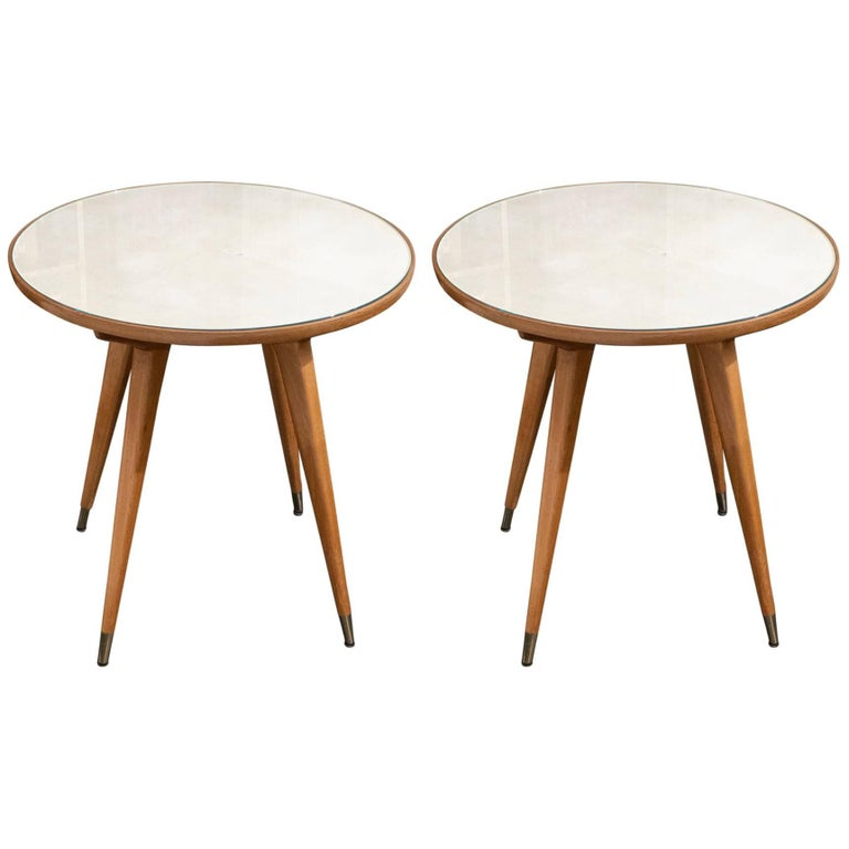 Pair of Oak and Parchment Side Table with Glass Top, Italy, circa 1950s For Sale