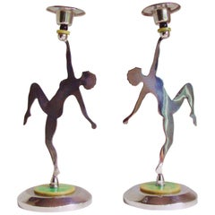 Pair of English Art Deco Chrome Figural Nude Candlesticks with Bakelite Accents
