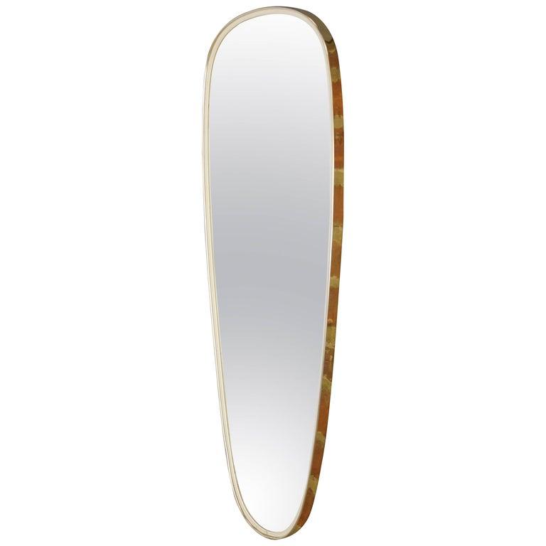 1950s White and Brass Mirror