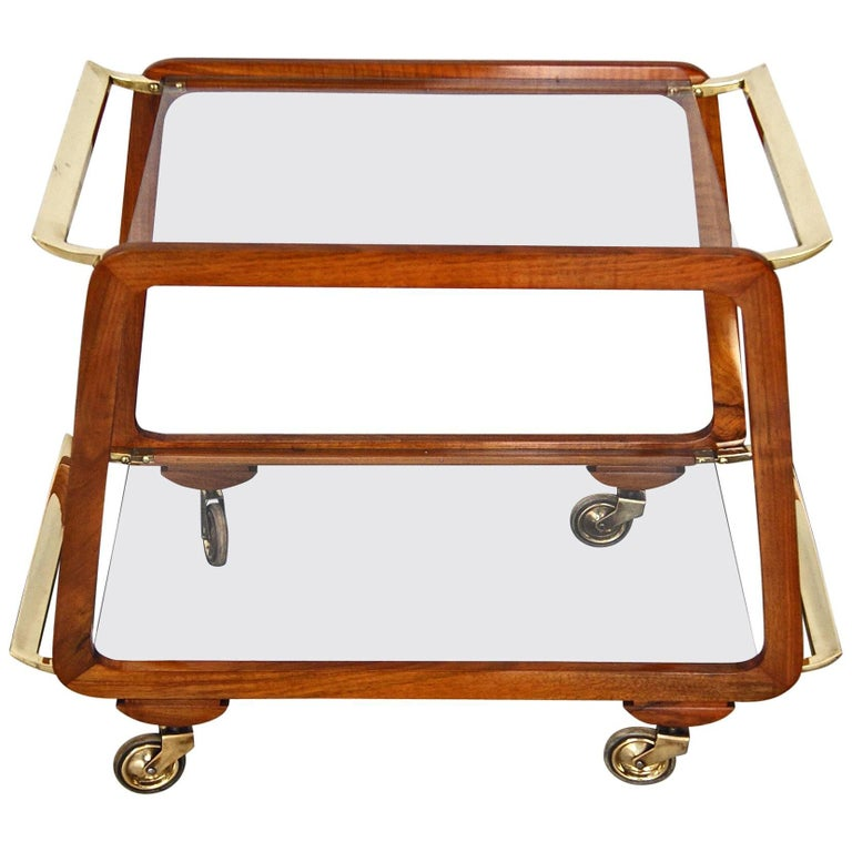 Vienna Art Deco Serving Trolley Bar Cart Nut Wood Glass Shelves Made circa 1930 For Sale