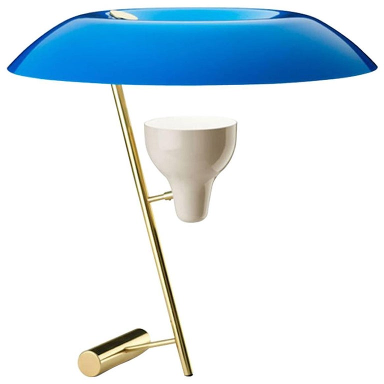 Model 548 Dimmable Table Lamp by Gino Sarfatti in Azure Blue and Polished Brass