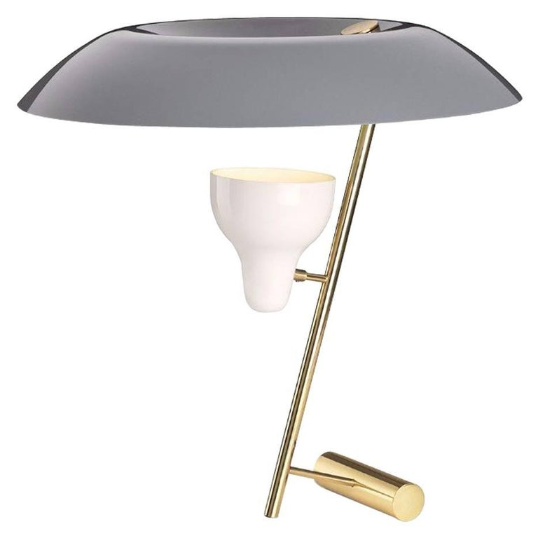 Model 548 Dimmable Table Lamp by Gino Sarfatti in Grey/Burnish or Polish Brass