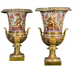 Rare and Important Pair of Darté Frères Porcelain Campana Vases, circa 1820