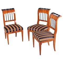 Set of Biedermeier Walnut Chairs, Three Pieces, Austria, Wien, Period 1920-1929