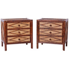 Pair of Midcentury Faux Bamboo Nightstands or Chests
