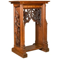 Lectern Carved English Oak Stand Ecclesiastical Gothic, Pugin, circa 1880