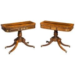 Pair of Regency Period Rosewood Card Tables