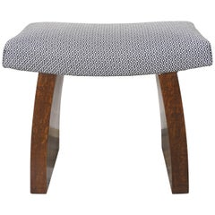 Art Deco Wooden and Fabric Stool