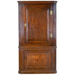 Antique Corner Cabinet, English, Oak, Georgian, Floor Standing Cupboard