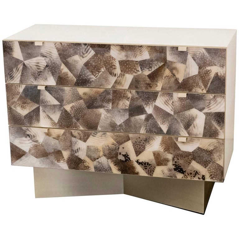Parchment and Fugu Skin Contemporary Chest of Drawers, France.