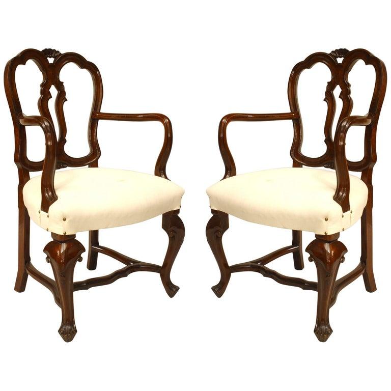 Pair of Italian Venetian Style '19th Century' Walnut Open Back Armchairs