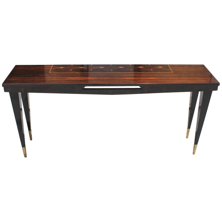 Long French Art Deco Exotic Macassar Ebony Console Table, circa 1940s