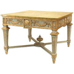 Northern Italian Neoclassic '18th Century' Gilt and Blue Painted Centre Table