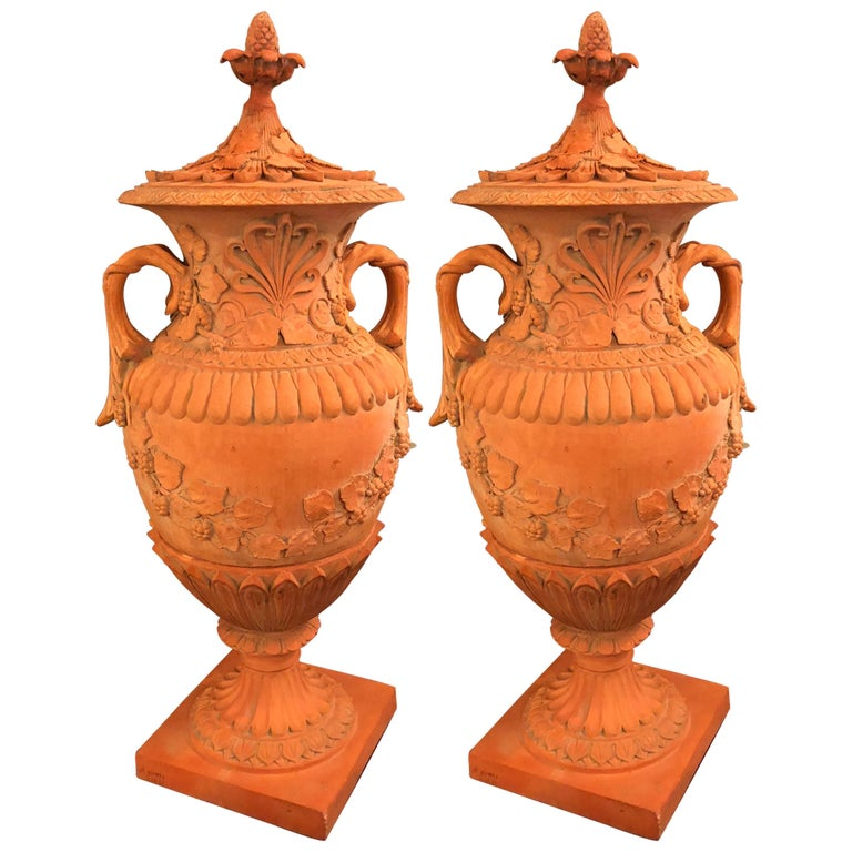 Pair of Monumental Terracotta Three-Piece Lidded Urns For Sale
