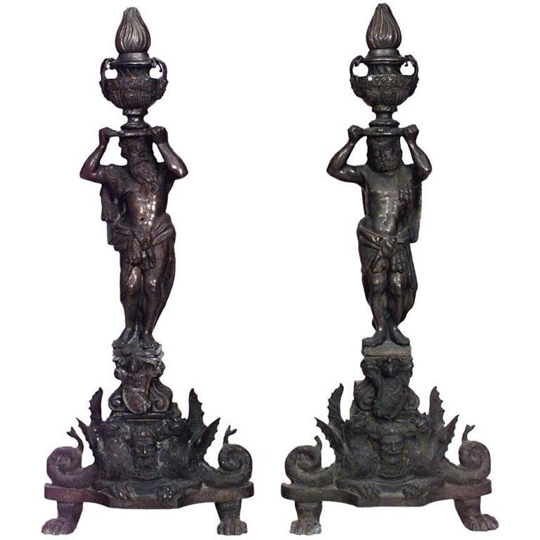Pair of Italian Renaissance Style '19th Century' Bronze Andirons