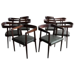 Set of Ten '10' Dining Chairs in Rosewood with Curved Back and Upholstered Seat