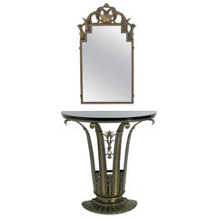 French Art Deco Console and Mirror