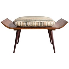 Stool in Rosewood with an Upholstered Cushion