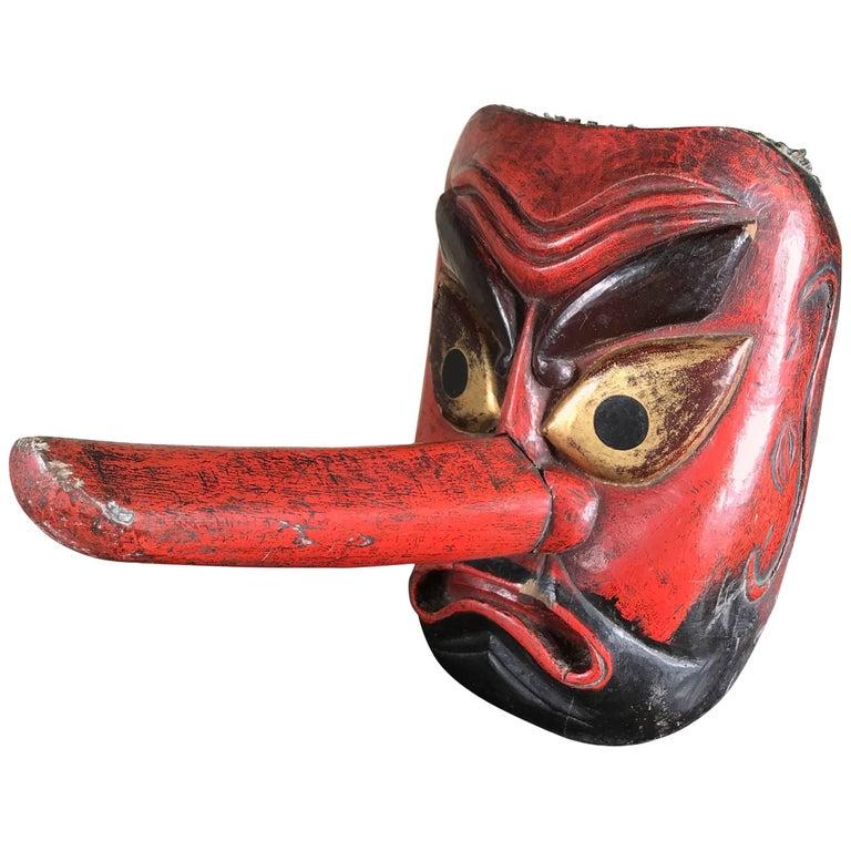 Big Japanese Old Forest God Mask Tengu Dramatic Nose, Signed, 19th Century